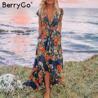 Повседневные платья Берриго Сексуальные Женщины Асимметричный Длинный Флористический Печать Плюс Размер V Ожережденные Летние Элегантные Holiday Vestidos 2021