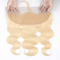 금발 머리 색깔 613 브라질 바디 웨이브 스트레이트 레이스 정면 폐쇄 13x4 레미 인간의 머리카락 확장