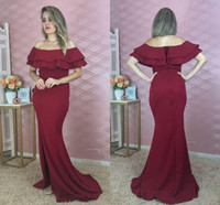 2020 Mermaid Evening Dresses Off Shoulder Side Split Ruffles...