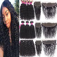 9A Remy Brasilianisches Reines Haar mit Schließungen 4x4 Spitzenverschluss oder 13x4 Spitze Frontal Verschluss Tiefwelle Brasilianische Haarbündel mit Schließung