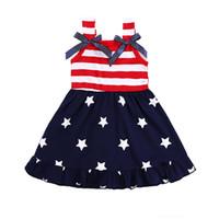American Independence Day Crianças Vestido Meninas Verão Americana Bandeira Sem Mangas Vest Listrado Vestido Princesa Estrela Imprimir Bandeira Vestidos