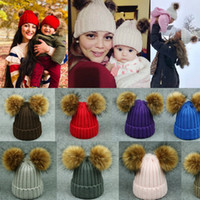 European Warm Knitting Hats Winter Beanie Hats Baby and Mom ...