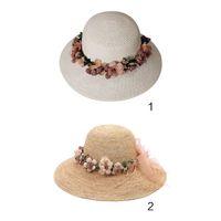 2ff9765f6d3 New Arrival. Women Summer Straw Weave Sun Visor Hat Artificial Flower  Garland Wreath Lace Ribbon Wide Brim Bucket Cap Mulitifunction Sunproof