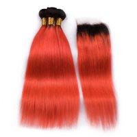 Silanda cabelo ombre cor #t 1b / laranja vermelho reto remy cabelo humano tecelagem de tecelagem 3 pacotes com 4x4 lace fechamento frete grátis