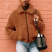 여자 겨울 코트 모피 재킷 겨울 따뜻한 재킷 패션 여성 새로운 지퍼 옷깃 느슨한 모피 자켓 여성 외투 겉옷 아시아 크기