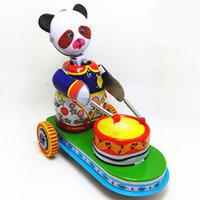 Adult Collection Retro Wind up toy Metal Tin The panda drum ...