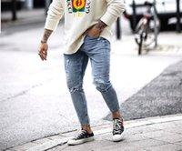 Mode Hommes Trou Bavures Zipper Crayon Pantalons Skinny Washed Été Casual Mid taille Jeans Hommes Vêtements