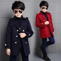 Çocuk Boys Palto Kış Yeni Kore Yün Palto Erkek Gençler Için Sonbahar Ceket Sıcak Uzun Giyim Çocuk Rüzgar Geçirmez Ceket 5-14Y