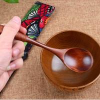 Vente chaude cuillère en bois de cuisine en bambou cuisson outil soupe cuillère à thé