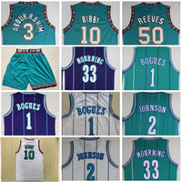 Descuento Shareef Rahim Jersey Vintage Mike 10 # Bibby 50 # Reeves Muggsy Bogues Jerseys 33 # Alonzo Mourning Green White Purple