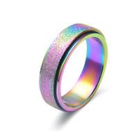 حلقات rainbow 6 ملليمتر المقاوم للصدأ خواتم للرجال النساء عالية مصقول حواف الخطوبة الفرقة عصابة مجوهرات الذهب الأسود اللون