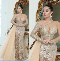 Champagne Gold Lace Mermaid Vestidos frisada mangas compridas Sheer Neck Prom vestidos lindos Dubai Vestido Engagement Africano