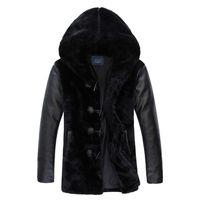 Winter mann Hohe Qualität Pelzmantel Lederjacken Pelz Faux Mäntel mit kapuze Kragen Warme Pelzmantel Kleidung Plus Größe