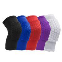 Honeycomb Knee Pads Basket Sport Kneepad Volleyboll Knee Protector Brace Support Fotbollskompression Ben ärmar för barn vuxna