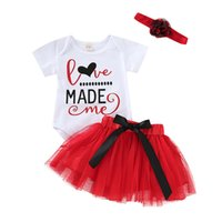 Valentine' s Day Baby girls outfits children letter prin...