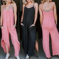 Womail Mulheres Jumpsuit macacão preto Verão Sexy Backless perna larga Jumpsuit Side Dividir Hem Casual One Piece Womens Roupa rosa