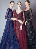Elie Saab Вечерние Navy Blue Lace платья вечерние платья выпускного вечера платья с линией кружева аппликация бисером Crew Neck Длинные рукава