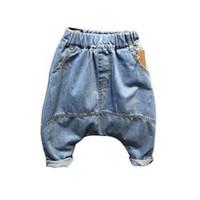 İlkbahar Sonbahar Kot Erkek Moda Cep Fermuar Harem Pantolon Elastik Bel Gevşek Rahat Pantolon Çocuklar Pantolon