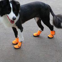 Küçük Köpek Kedi Puppies ayakkabı Sıfır 4pcs / set Pet Köpekler Kış Ayakkabı Yağmur Kar Su geçirmez Patik Çorap Lastik Kaymaz Ayakkabı
