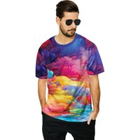 Men' s T- Shirt Large Size Loose Top 3D Colorful Cloud Pr...