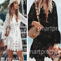 2020 Copertura Bikini Donna Lace Up floreale Crochet della cavità del costume da bagno Bikini Covers complesso bagno del vestito del Beachwear dello Swimwear tunica Beach Dress LY314