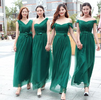 Dark Green Floor- length Bridesmaid Dresses Mix Styles Empire...