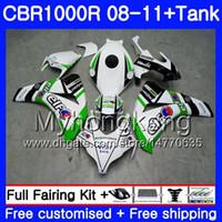 Bodys + réservoir vert blanc chaud pour HONDA CBR 1000RR CBR 1000 RR 2008 2009 2010 2011 277HM.33 CBR1000 RR 08 10 11 CBR1000RR 08 09 1011