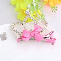 M Mism 1pc New Ribbon Bow Hairpins Resin Gliter Pearls Tiara...