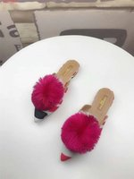 fashion Pointed slippers Large plush ball decoration Europea...