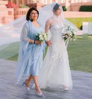 Pelerin Açık gök mavisi Sleevless Çay Boyu Yaz Ucuz Biçimsel törenlerinde ile Gelin Elbise Of Basit şifon Rulo Boyun Anne