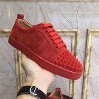 Chaussures New Designer Spikes Cloutés Red Shoe Bas Chaussures Hommes Femmes Party Lovers Sneakers en cuir véritable