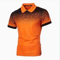 Роскошные мужские рубашки Polo дизайнер печатный градиент Slim Tee случайные мужские короткие рукава