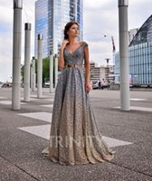 Shinning Silver Gold V- Neck Sequins Evening Dresses Special ...