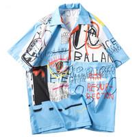 Мужские рубашки хип-хоп Streetwear гавайке Graffiti Печать Пляж Tops Лето Thin Топы с коротким рукавом Мужской одежды