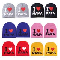 إلكتروني القطن قبعة للأطفال الفتيات الفتيان أنا أحب بابا ماما متعدد الألوان الرضع طفل دافئ متماسكة قبعة للهدايا بالجملة