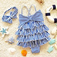 2019 New Baby Girls Swimsuit Kids suspender striped Layered ...