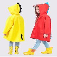 Çocuk Giyim Dinozor Kapşonlu yağmurluk Kızlar Su geçirmez Rainwear Hayvan Karikatür Yağmurluk Seyahat Rainsuit Açık Yağmur Cape Cloak Panço TL141
