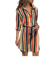 Langarm Hemdkleid 2019 Sommer Chiffon Boho Strandkleider Frauen Casual Striped Print A-Linie Mini Party Kleid Vestidos