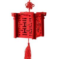 Linterna china roja de madera del corte del laser de la boda la caja del caramelo para la novia ducha doble Favor boda de la felicidad Cajas SN3939
