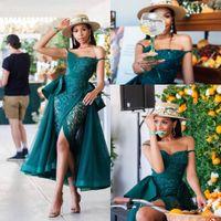 Caçador ver através de vestidos de baile 2020 Sexy peplum laço tulle frente split coquetel vestido beads pérolas vestidos de noite de sereia africana