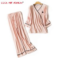New Elegant luxury Silk Pajamas For Women Solid Embroidery p...
