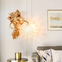 Yaratıcı Amerikan Duvar Işık Salon Arkaplan Dekorasyon Duvar Lambaları Basit Avrupa Retro Koridor Yatak Odası Aplik Başucu Light led