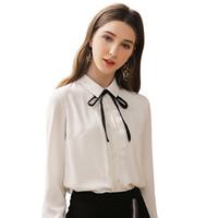 Blusas de mujer Camisas Liva Girl Mujeres Sexy Lapel Chiffon Blusa Damas de manga larga Plisada
