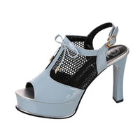 Shoes woman Fish Mouth Mesh Hollow High Heels Sandals Buckle...