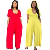 2019 Yeni Kadın Kapşonlu Kısa Kollu Gevşek Tulum Moda Aktif Yan Cep ile 2 Renk Tulum Klasik Romper Giymek