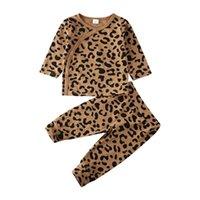 Лета младенца хлопка Одежда для новорожденных Детские Детские Для девочек Для мальчиков Повседневный костюм пижамы Leopard Printed Детская одежда Set