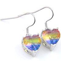 Chapado 925 Plata Corte Corazón Bi Color Coloreado Turmalina Pendientes Pendientes Arco iris Pendiente Joyería de boda Mujer Free Ship