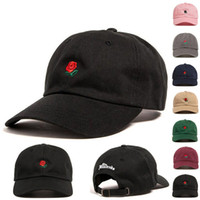 Flower Embroidered Couples Baseball Cap Lovely Adjustable Ro...