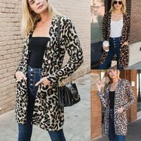 Frauen Art und Weise Leopard-Druck-Strickjacke lange Winter Taschen Mäntel Damen Poncho beiläufigen langen Hülsen-Strickjacke Cardigan Gerade Tops