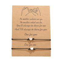 2Pcs / комплект Love Hearts Бесконечность Подвески Регулируемые браслеты Красный Черный Струнный Rope Женщины Мужчины Модные Handmade Дружба ювелирных Рождественский подарок